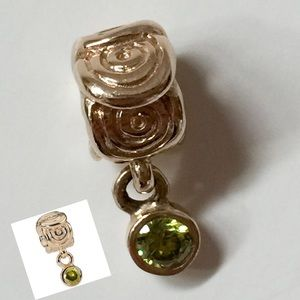 Pandora 14K Gold Green CZ Dangle Charm
